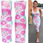 Neon Pink Floral Dress Midi Casual Summer Beach Sleeveless Womens Ladies Maxi