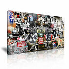 BANKSY Collage 1 1-21 Canvas Framed Printed Wall Art ~ More Size