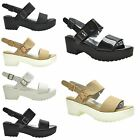NEW WOMENS LADIES ANKLE STRAP MID BLOCK HEEL PLATFORM PEEP TOE BUCKLE SANDALS