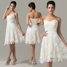 Short Lace Satin Evening Formal Bridesmaid Wedding Ball Gown Prom Party Dresses
