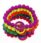 Acrylic Bead Elastic Sell Neon Frosted Peace Symbol Bracelet 10pc New