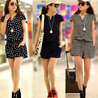 Summer Sexy V Neck Elastic Waist Casual Jumpsuit Overall Shorts Playsuit Romper