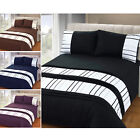 Embellished Ribbon Stripe Duvet Quilt Cover - Pleated Bedding Set + Pillow Case