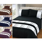 Embellished Ribbon Stripe Duvet Quilt Cover – Pleated Bedding Set + Pillow Case