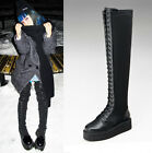Womens Chic Black Leather Lace UP Punk Wedge Heel Over The Knee Boots Shoes M53