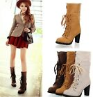 Womens Ladies Zipper Lace Up Cuffed High Heel Ankle Boots Shoes Plus Size C-8