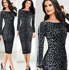 Women Celebrity Style 1 Bodycon Sexy Leopard Cocktail Party Evening Pencil Dress