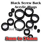 3mm to 24mm Black Screw Back Acrylic Plug / Ear Tunnel