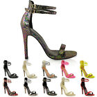 WOMENS LADIES STRAPPY STILETTO HIGH HEEL SANDALS ANKLE STRAP CUFF PEEP TOE SHOES