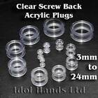 3mm to 24mm CLEAR Screw Back Acrylic Plug / Ear Tunnel