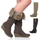 WOMENS LADIES WINTER FOLD OVER CUFF FUR ZIP WEDGE CALF KNEE BOOTS SIZE