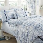 Luxury Toile De Jouy Duvet Set, French Country, Floral & Stripes, Blue & White