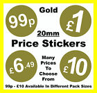 20mm Gold Price Point Stickers / Sticky Labels / Swing Tag Labels £1, £5, £10