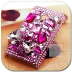 Pink Crystal Ribbon Bling Rhinestone Gems Back Hard Skin Case Cover For Nokia