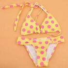 Women's Two-Pieces Halterneck Triangle Swimsuit Swimwear Bikini Set Yellow