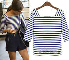 Women's Stylish Design Striped Tight Long Sleeve T-shirts Attractive Tops Blouse