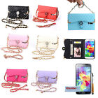 Luxury Diamond Rose PU Flip Wallet Card Case Cover For Samsung Galaxy S5 V i9600