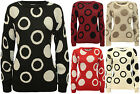New Womens Circle Spot Pattern Long Sleeve Ladies Knitted Sweater Jumper 8 - 14