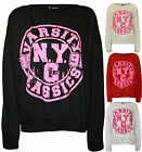 New Womens Varsity NYC Logo Print Ladies Long Sleeve Sweatshirt Jumper Top 8-14