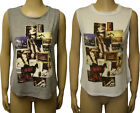 Ladies American Face Print New York Dip Hem T-shirt Womens Sleeveless Top 8 - 14