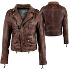 Aviatrix Ladies Womens Genuine Leather Classic Biker Style Marble Jacket Brown
