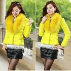 Stripe Shrug Fur Collar Short Woman Down Wadded Elegant Jacket Coat Outwear SSUS