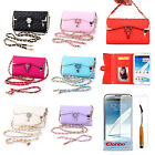 Pretty Diamond PU Leather Flip Wallet Case Cover For Samsung Galaxy Note 2 N7100