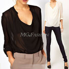 Womens Ladies V Scoop Drapped Sheer Chiffon Blouse Tops See Through Long Sleeve