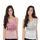 Womens Brave Soul LV-225Nicole New Ladies Sequin Bling Pink Vest top Size S