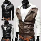 Korea Fashion Patchwork Knitting Sleeve Slim Men Faux Leather Zip Hoodie Jacket