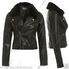 NEW Faux Fur BIKER JACKET Womens FAUX LEATHER Ladies ZIP Size 8 10 12 14 16