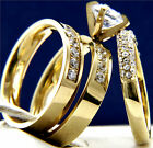 New 3 PCS 2.14 CT CZ Women's Engagement Stainless Steel Wedding Bridal Ring Set