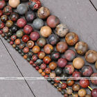 1 Strand 4-14mm Natural Picasso Jasper Gems Stone Round Ball Loose Beads 15-16""