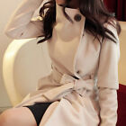 Slim Belt Large Lapel Single Breasted Outerwear Fashion Women Trench Woolen Coat