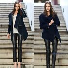 New Women Lady Asymmetric Warm Zipper Faux Edge Trench Coat Jacket Parka Outwear