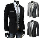 Modern Design Korean Men's Slim Fit Stereo Pocket Zippered Suits Jacket Coat JR