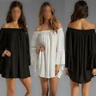 WOMENS BOHO SOLID RUFFLE SLEEVE OFF SHOULDER MINI DRESS TUNIC SUMMER BEACH DRESS