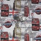 London City Red Bus Routes Cotton Linen Look Fabric