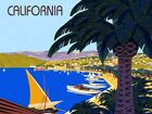 California Beach Sailboat Travel Ocean Tourism Vintage Poster Repro FREE S/H
