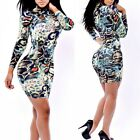 Women Sexy Bodycon Bandage Leopard Party Clubwear Dress Long Sleeve Pencil Dress
