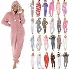 Ladies Fleece All In One Piece Pyjamas Jump Sleep Suit Onesie PJs Nightwear New