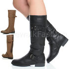 WOMENS BIKER LOW HEEL STRETCH CALF ZIP BUCKLE STRAP RIDING LADIES BOOTS SIZE