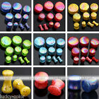 2pcs Colorful Dot Acrylic Double Flare Ear Tunnel Plug Stretcher Expander Gauge