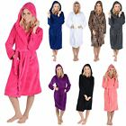 Ladies Coral Fleece Bath Robe With Hood Dressing Gown Wrap Housecoat Bathrobe