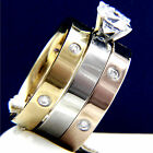 New Hers 3 pcs Womens Engagement Stainless Steel Wedding Bridal CZ Rings Set