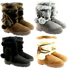 Womens Pom Pom Short Classic Fur Lined Winter Rain Waterproof Snow Boots US 5-11