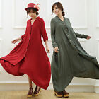 Maxi Plus Size Linen Loose Dress Lady Autumn Winter Long Sleeve Casual Robe Coat