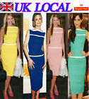 Boat Neck Women Wear To Work Formal Party Wiggle Pencil Dress UK Local Shipment