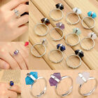Fashion Hexagon Healing Point Reiki Chakra Gems Stone Bead Rings Gift Adjustable