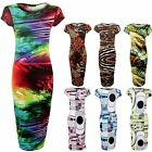 Women's Circle Print Midi Stretch Cap Sleeve  Ladies Bodycon Dress